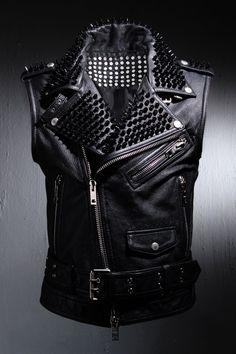 Real Goat Leather Custom Black Metal Stud All Over Vest.
