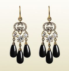 0722fcb36d8 Gucci Earrings In Metal With White Strass And Black Glass