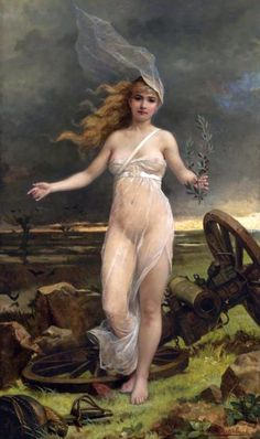Louis Maeterlinck (Belgian painter) 1846 - 1926, Allegory of Peace, s.d., oil on canvas, 59 x 35 in. (149.9 x 89 cm.), signed L. Maeterlinck (lower right), private collection