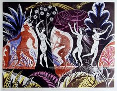 """""""Satyrs and Nymphs on Naxos"""" by Sarah Young (coloured woodcut)"""