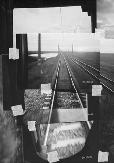 photographs of the same train tracks whilst moving but taken on different dates.