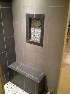 12x24 Neos Tile  -  Shower Niche w/Pebble Rock