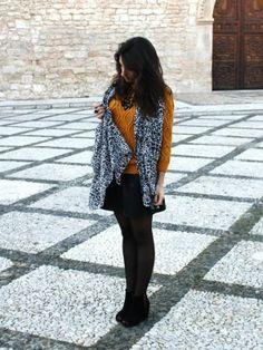mariaexojo Outfit  casual fashion urbano Animal Print chic zara street style mango outfit cool moda look blogger shana cotton mustard leather style jewelry  Invierno 2013. Cómo vestirse y combinar según mariaexojo el 20-2-2014