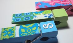 Michaels large wooden clothespins - $1  fabric and mod podge