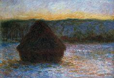 Die Darstellung des Lichts, der Luft und der Atmosphäre: Claude Monet, Getreideschober, Tauwetter, Sonnenun tergang, 1891, Öl auf Leinwand, 66 x 93 cm, The Art Institute of Chicago
