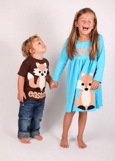 caf3e4765 Fox Dress, Fall Girls Dress, Woodland Animal, Fox Applique, - You Choose  Dress Color