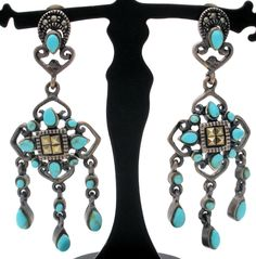 """Dangle 925 Earrings - This is a pair of drop sterling silver pierced post earrings with blue turquoise and marcasite gemstones. They are signed CFJ, hallmarked 925, weigh 6.1 grams, and measure 1.75"""""""