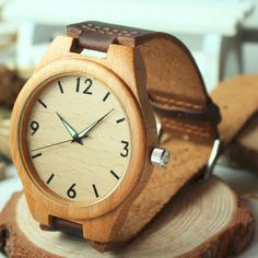 Unisex Mens Or Ladies Wooden Case & Leather Strap Watch With Stainless Buckle