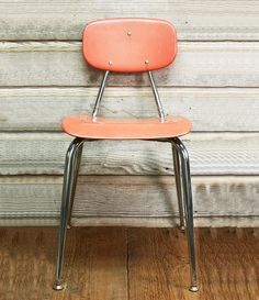 Vintage Mid-Century School Chair -- Coral Colored Chair