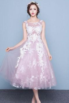 Pink Ball Gown Cute Cocktail Dresses, Tulle Lace Formal Evening Dress on Sale
