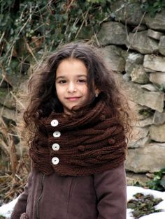 Hand Knitted Children's Scarf / Cowl in by KnitCrochetbyMarina, $30.00