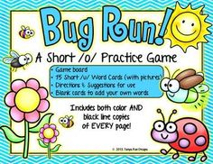 Bug Run! A Short /u/ Vowel Practice Game {Meets Common Core} - Check out all 5 Short Vowel Games in this series!