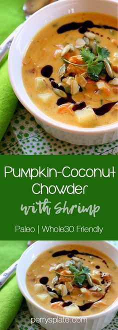 Pumpkin-Coconut Chowder with Shrimp | Paleo and Whole30 Friendly
