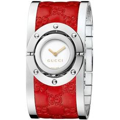70b8fbe43 Gucci Watch, Women's Swiss Twirl Red Guccissima Leather And Stainless Steel  Bangle Bracelet 24mm Ya112435