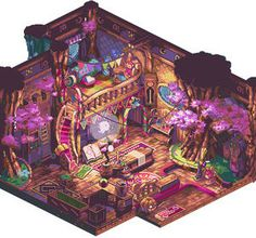 pixel room by blink, I have no words this pixel art is beautiful (also this room is amazing/beautiful I wish this was my room it has so much trinkets, art stuff and a reading nook. 3d Fantasy, Fantasy House, Fantasy Landscape, Fantasy World, Bg Design, Game Design, Environment Concept Art, Environment Design, Isometric Art