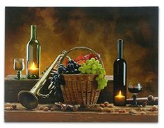 Wine Canvas Print -- LED Lighted Candles Inside Wine Bottles -- Also Pictured Are Grapes, a Trumpet and a Jazz Horn - 12x16 Inch Banberry Designs http://www.amazon.com/dp/B00OV856QU/ref=cm_sw_r_pi_dp_uCIxub1YQ2EZH