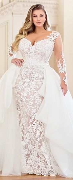 Plus-Size Wedding Dresses: A Jaw-Dropping Guide ★ See more: www. Plus-Size Wedding Dresses: A Jaw-Dropping Guide ★ See more: www. Plus Size Wedding Gowns, Dream Wedding Dresses, Plus Size Dresses, Bridal Dresses, Wedding Dresses For Curvy Women, Modest Wedding, Bridesmaid Dresses, Curvy Bride, Long Sleeve Wedding
