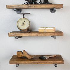 "Set of 3 - 12 "" deep Industrial Floating Shelves combo with pipe brackets. Farmhouse Rustic Kitchen Shelf, Wood Wall shelf, Bathroom Storage"