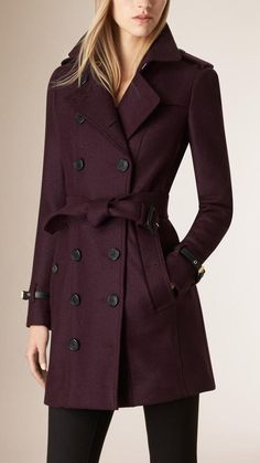 Burberry Leather Trim Virgin Wool Trench Coat