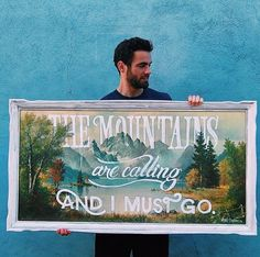 50 Inspiring Examples of Hand-lettering - Tim Brown Diy Projects To Try, Art Projects, Thrift Store Art, Thrift Stores, Painted Signs, Hand Painted, The Mountains Are Calling, Collage, Diy Art