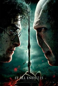 """I chose this picture to represent the plot of the book """"Harry Potter and the Deathly Hallows because the plot for the entire book is leading up to Harry and Voldemort facing off at the Battle of Hogwarts. Harry Potter Poster, Harry Potter Movies, Deathly Hallows Part 2, Harry Potter Deathly Hallows, Hogwarts, Helena Bonham Carter, Bellatrix Lestrange, Hermione Granger, Drarry"""