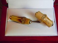 Original Vintage SWANK Arts of The World Bamboo Cufflinks