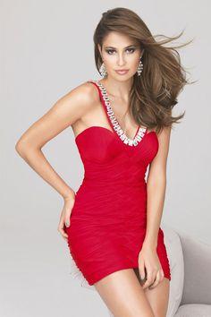 Red Mini V-neck Chiffon Zipper Cocktail Dress