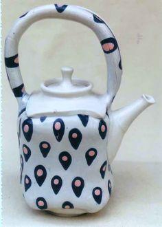 M.Wein free form slab built Teapot porcelain with Mishima inlaid colour