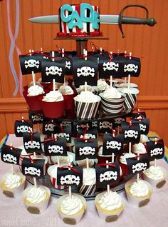 Sweet Baby {Mason} James: Pirate Birthday Cupcake Tower
