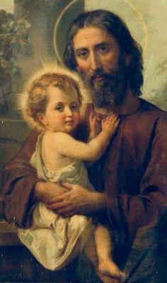 St Joseph with baby Jesus Jesus Christ Images, Jesus Art, Christian Images, Christian Art, Catholic Art, Catholic Saints, Religious Images, Religious Art, Jesus E Maria