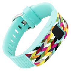 Designer sleeve designed for Fitbit Charge™ and Charge HR - French Bull Multi Color Chevron Ziggy Teal