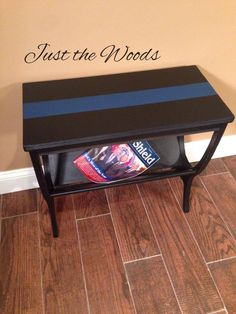 "hand painted magazine / accent table ""thin blue line""  #justthewoods #thinblueline #supportnypd"
