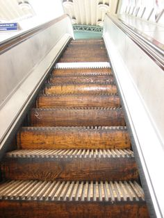 The only wooden escalator still in service on the London underground at greenford -  the rest were scrapped in the wake of the kings cross fire in 1987.
