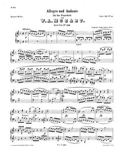 Mozart, Wolfgang Amadeus  Piano Sonata No.15 en Fa majeur