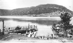 """Punt crossing at Wisemans Ferry in Phegan's launch """"Merry Days"""" is in the background Old Pictures, Old Photos, Australian Road Trip, Tourist Info, Australia Day, Old Maps, Central Coast, Blue Mountain, South Wales"""
