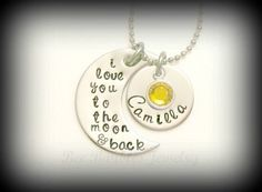 Mothers Day Gift - Hand Stamped Jewelry I Love You To The Moon And Back Personalized Necklace - Hand Stamped Stainless Steel. $27.00, via Etsy.