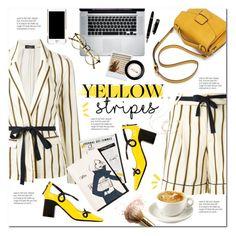 """Yellow stripes"" by takotarn ❤ liked on Polyvore featuring Roberto Collina, Fabrizio Viti, Garance Doré, Stila, Moschino, INDIE HAIR and Molami"