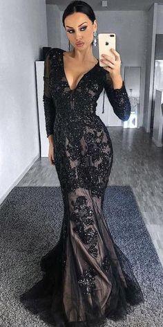 c34e317f027 Black Mermaid Long Sleeves Tulle Applique Long Prom Dresses