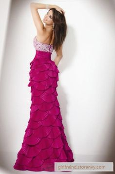 Rose fishtail strapless party dress / wedding dress