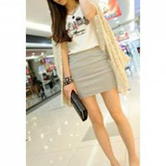 $4.48 Slim Fit Candy Color High Waist Skirt For Women