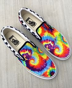 Get groovy with our new Rainbow Tie-Dye pattern in the Customs Shop. vans.com/customs