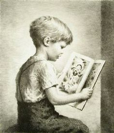 Picture Book, James Orsbee Chapin, not dated, lithograph, 10 in. Currier Museum of Art. People Reading, Kids Reading Books, Book People, Books For Boys, Reading Art, Reading Nook, Indianapolis Museum, Lectures, Book Themes