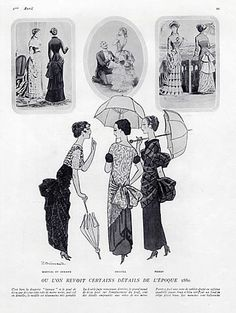 Paul Poiret 1923 Martial Et Armand & Drecoll, Period 1880 Style, Pierre Brissaud Paul Poiret, Martial, Art Deco Dress, Art Costume, Card Patterns, Classic Outfits, Couture, Fashion Plates, Victorian Era