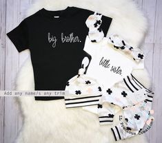 6215f02d4 Little Sister Big Brother Newborn Coming Home Outfit Baby Girl Clothes  Sibling Outfits Black and white Outfit Baby Shower Gift