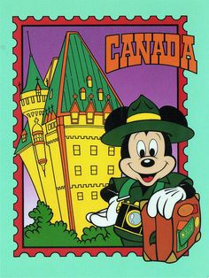 Mickey mouse Epcot postcards | Mickey in Canada postcard