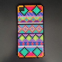 Colorful iPhone cover hama perler beads by Black Chameleon