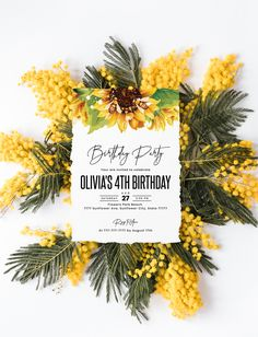 Birthday invitation template, bridal shower invitation or baby shower invitation Shower Baby, Bridal Shower, 4th Birthday, Birthday Parties, Sunflower Party, You Are Invited, Birthday Invitations, My Design, My Etsy Shop