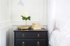 White & Gold Design - bedrooms - Benjamin Moore - White Dove - Ikea VALLVIK 3 Drawer Chest, Target arget Home Kissing Pleat Duvet Set - Whit...
