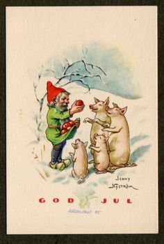 Tomte and Christmas pigs - Jenny Nystrom Swedish mini postcard. $8.00, via Etsy.