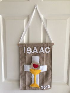 Isaac's First Communion banner - his design, my labor of love